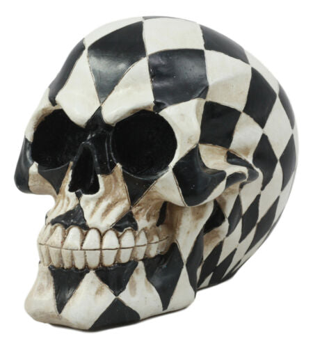 Day Of The Dead Harlequin Black And White Checkered Skull Statue Sugar Skull Art