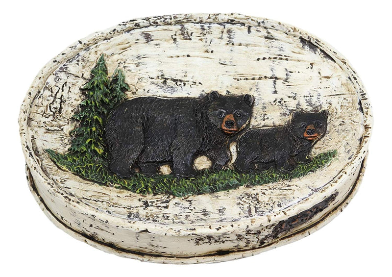 Ebros Wildlife Rustic Black Bear in Pine Trees Forest Bathroom Accent Resin Figurine Accessories with Birch Wood Finish Western Country Cabin Lodge Decorative (Bar Soap Dish)