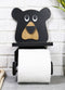 Whimsical Kids Rustic Black Bear Cub Toilet Paper Holder With Cell Phone Stand