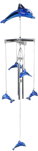 "Ebros Nautical Marine Blue Swimming Dolphin Wind Chime 22"" Long Acrylic Glass with Aluminum Rods Home Patio Garden Decor of Dolphins Under The Sea Life Coastal Ocean Decorative Noisemakers"