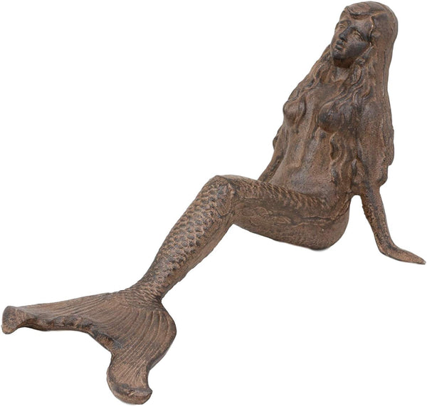 "Ebros Gift 16.25"" Long Nautical Siren Mermaid Leaning Back Cast Iron Rustic Vintage Finish Shelf Sitter Statue Ocean Goddess Princess Coastal Beach Under The Sea Mermaids Decorative Accent"
