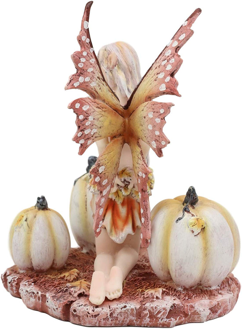 "Ebros Amy Brown Autumn Maple Elf Fairy with White Pumpkins Statue 5"" Long"