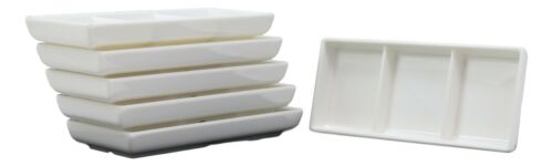 White Jade Melamine Condiments Soy Sauce 3 Partitions Dipping Bowls Dishes Set 6