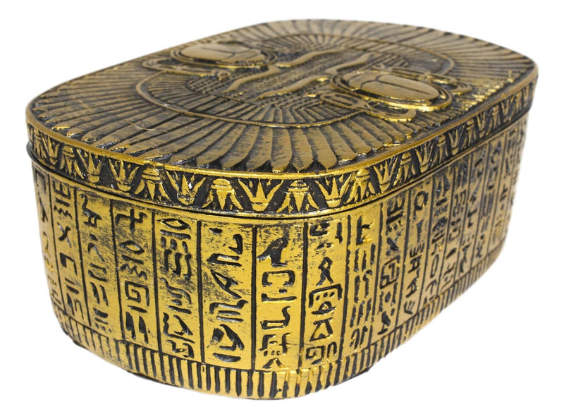 Golden Egyptian Dual Cobra Winged Scarab Beetles Decorative Jewelry Box Figurine - Ebros Gift