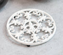 Rustic White Fleur De Lis Medallion In Snowflake Scroll Design Cast Iron Trivet