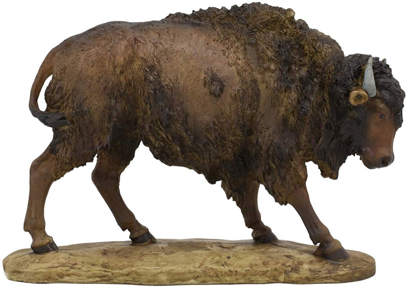 "Ebros American Bison Buffalo Standing On The Plains Decorative Figurine 9"" Long"