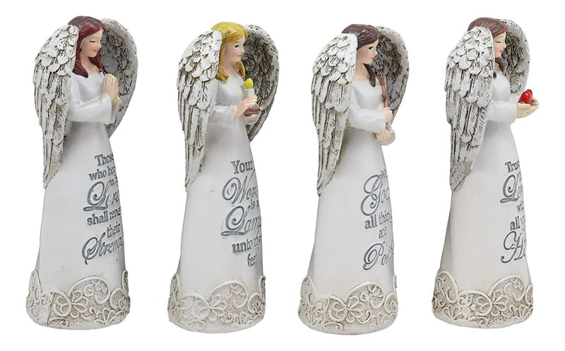 "Ebros 4.25"" Tall Colorful Divine Heavenly Angels with Inspirational Scriptures Figurine Set of 4 Angelic Hosts of Prayer and Faith Statues Home Decor Christmas Graduation Housewarming Gifts - Ebros Gift"