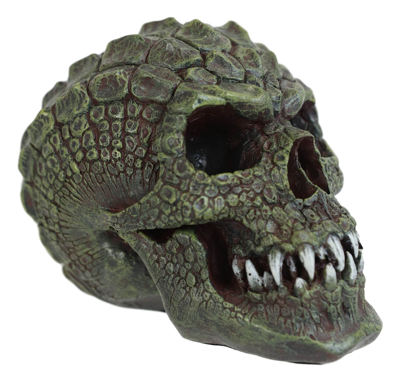 Gator Head Alligator Monster Cranium Skull With Hide Skin Look Decorative Statue