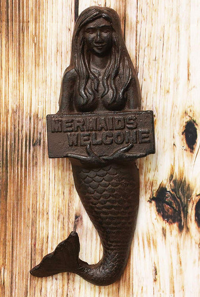 "Ebros 12"" Tall Cast Iron Nautical Ocean Mermaid Holding Mermaids Welcome Sign Decorative Wall Plaque"