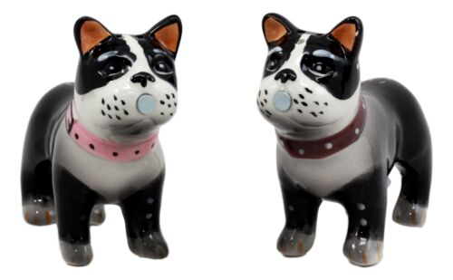 "Dog Boston Terrier Salt & Pepper Shakers Ceramic Magnetic Figurine Set 4""L"