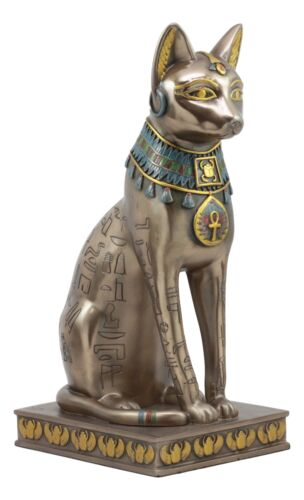 "Ancient Egyptian Sitting Cat Bastet Statue 12.5""H Goddess Of The Home And Women - Atlantic Collectibles"