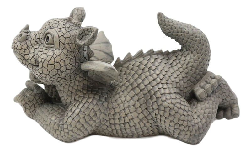 "Wishful Thinking Dreamy Baby Dragon On The Ground Statue 12""L Fairy Garden Decor"