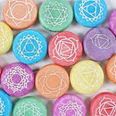 Ebros 7 Chakra Meditation Stones - 42 Pieces Set with Pouches and Display Case