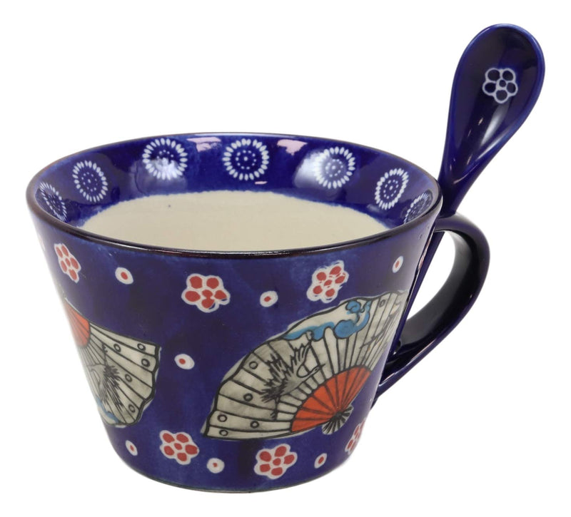 Ebros Vintage Stylish Porcelain Coffee Tea Latte Cafe Mug Cereal Drink Cup With Spoon 2pc Set 12oz Home Kitchen Decorative Mugs Cups Ceramics (Blue Oriental Fan, 1) (One Set)