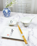 Japanese Ancient Leaf Calligraphy Ceramic Sushi Dinnerware 10pc Set For Two