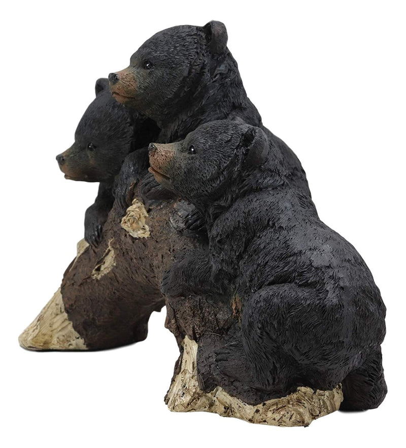 "Whimsical Rustic Forest 3 Black Bear Cubs Climbing On Arched Log Statue 12.25""L - Ebros Gift"
