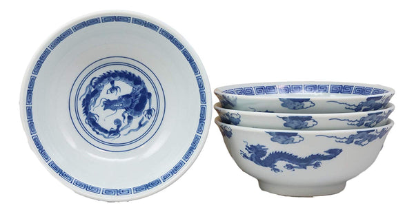"Ebros Gift Blue And White Ming Dynasty Style Feng Shui Dragons Ceramic Bowls As Ramen Pho Soup Cereal Bowl 4 Piece Set 32oz 8""Diameter"