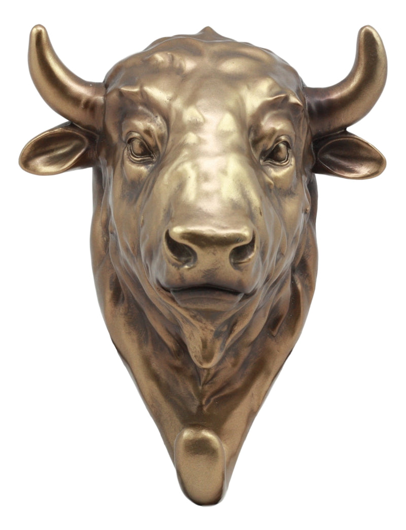 "Ebros Bronzed Charging Bull Bust Wall Hook Hanger Animal Safari Trophy Taxidermy Wall Mount Sculpture Plaque Figurine 8"" H Perfect Decor for Wall Street Investors Fathers Day Wildlife Hunters"