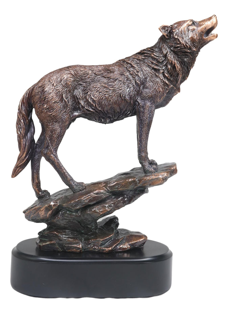 Midnight Moon Howling Alpha Gray Wolf Statue In Bronze Electroplated Finish