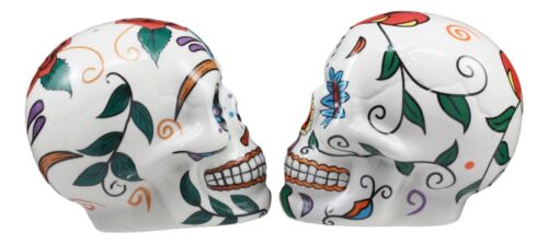 Love Never Dies Sugar Skulls Day Of The Dead Ceramic Salt And Pepper Shakers Set