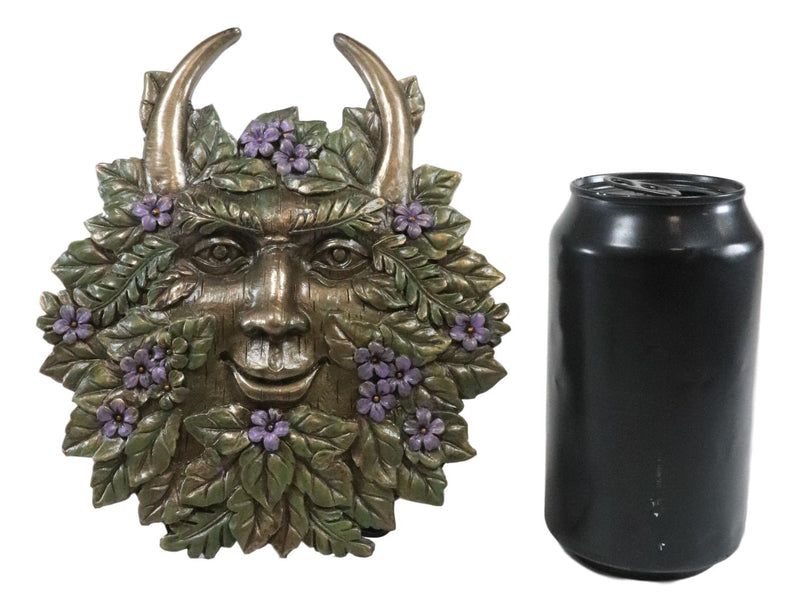 Ebros Spring Blooms & Blossoms Horned Greenman Pan Wall Decor Plaque Sculpture