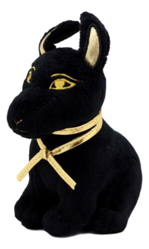 "Ebros Small Black & Gold Egyptian Anubis Dog Plush Toy Soft Doll God of Afterlife Jackal Collectible 6"" H"