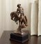Rustic Western Rodeo Cowboy With Bucking Horse Bronze Electroplated Figurine