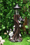 Black Kitten Cats by Garden Tree Outpost Statue With Solar LED Lantern Light
