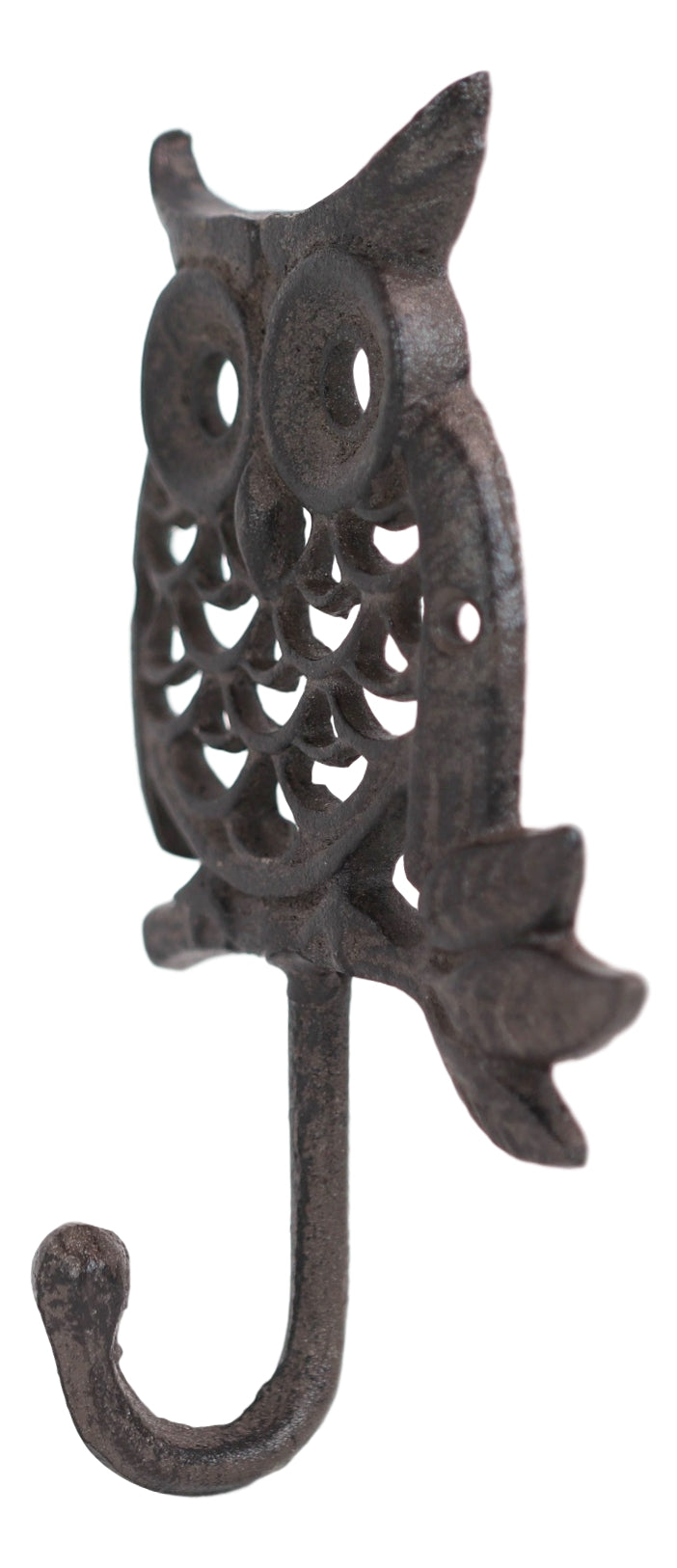 Cast Iron Rustic Filigree Great Horned Owl On Twig Wall Coat Keys Leash Hook