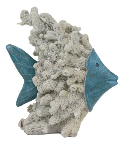 Nautical Marine Blue Angelfish with Off White Coral Reef Exoskeleton Body Statue