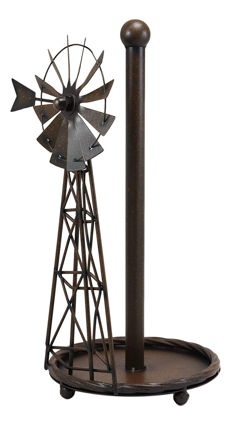 "Ebros 14.5""Tall Rustic Country Farm Agricultural Windmill Outpost Paper Towel Holder Display Dispenser Stand Made Of Handcrafted Metal Western Kitchen Bathroom Home Decor In Aged Bronze Finish - Ebros Gift"
