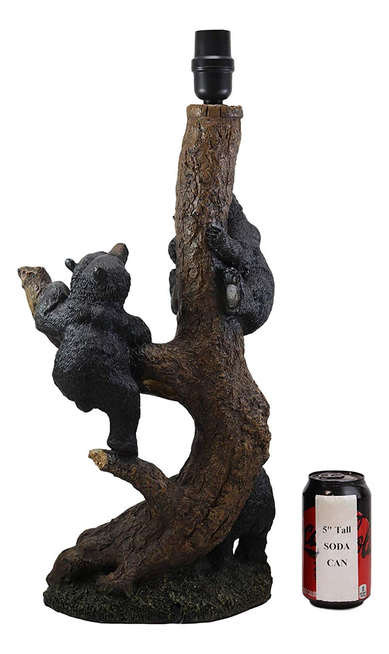 "Ebros Whimsical 3 Adventurous Black Bear Cubs Climbing Stunted Tree Table Lamp Statue with Shade 26.25""High Mountain Wildlife Woodland Rustic Cabin Lodge Decor Forest Bears Family Desktop Lamps"