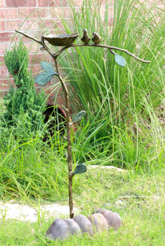 Romantic Lovebirds By Nest On Branch Twigs Aluminum Garden Stake Bird Feeder