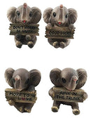 Ebros Lucky Trunks Baby Elephants Set of Four Figurine Holding Signs With Funny Saying
