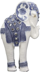 "Ebros Feng Shui Ming Style Blue and White Ornate Design with Crystals Resting Elephant Statue 9.25"" High Vastu 3D Zen Elephants Figurine Symbol of Wisdom Wealth Fortune"