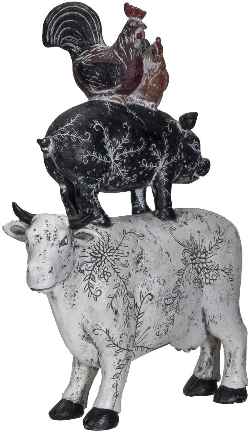 "Ebros Animal Farm Barnyard Stacked Resin Figurine Statue (Cow/Pig/Chicken) 12""L"