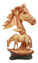 "Ebros Wildlife Scene Stallion Horse Bust Statue 12.5"" Tall Horse Family Resin Decor in Faux Wood Finish"