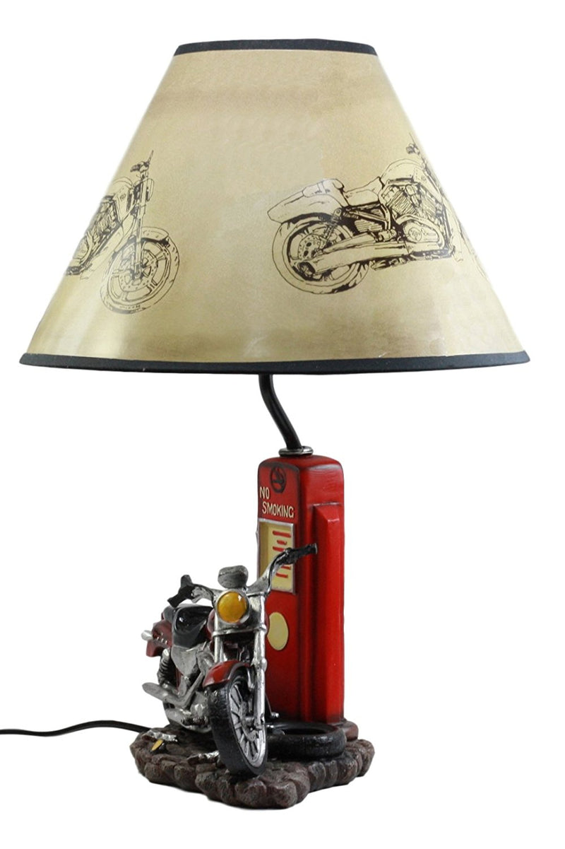"Vintage Retro Red Motorcycle By Classic Gas Pump Desktop Table Lamp 19""Tall"