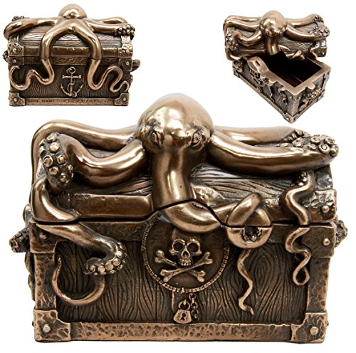Ebros Bronze Giant Kraken Octopus Guarding Pirate Treasure Decorative Jewelry Box Figurine