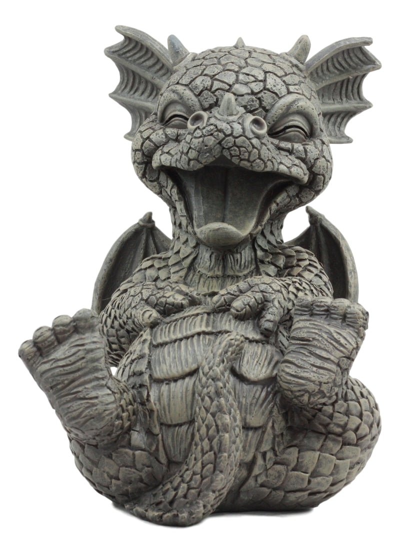 "Ebros Whimsical L.O.L Soul Garden Laughing Out Loud Dragon Statue 7.75"" Tall Faux Stone Resin Finish Hilarious LOL Fantasy Animated Dragons Welcome Guest Greeter Decor Figurine"
