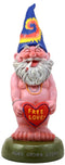 "Ebros Free Spirited Smoking Naked Hippie Gnome Statue 13.5""H Carefree Garden Gnome With Free Love Heart Sign Figurine"