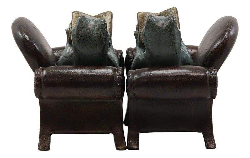 "Ebros Whimsical Bookworm Frogs Reading On Sofa Couches Bookends Pair Set Statue 7.5"" Wide Garden Pond Frog Themed Decorative Office Study-Room Library Shelves Desktop Figurines"
