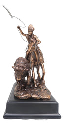 Tribal Native American Indian Hunter On Horse Roping Juvenile Bison Bull Statue