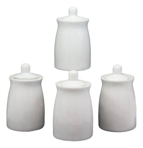 Japanese Chinese Dining Contemporary Porcelain White Soy Sauce Dispenser 4pc Set