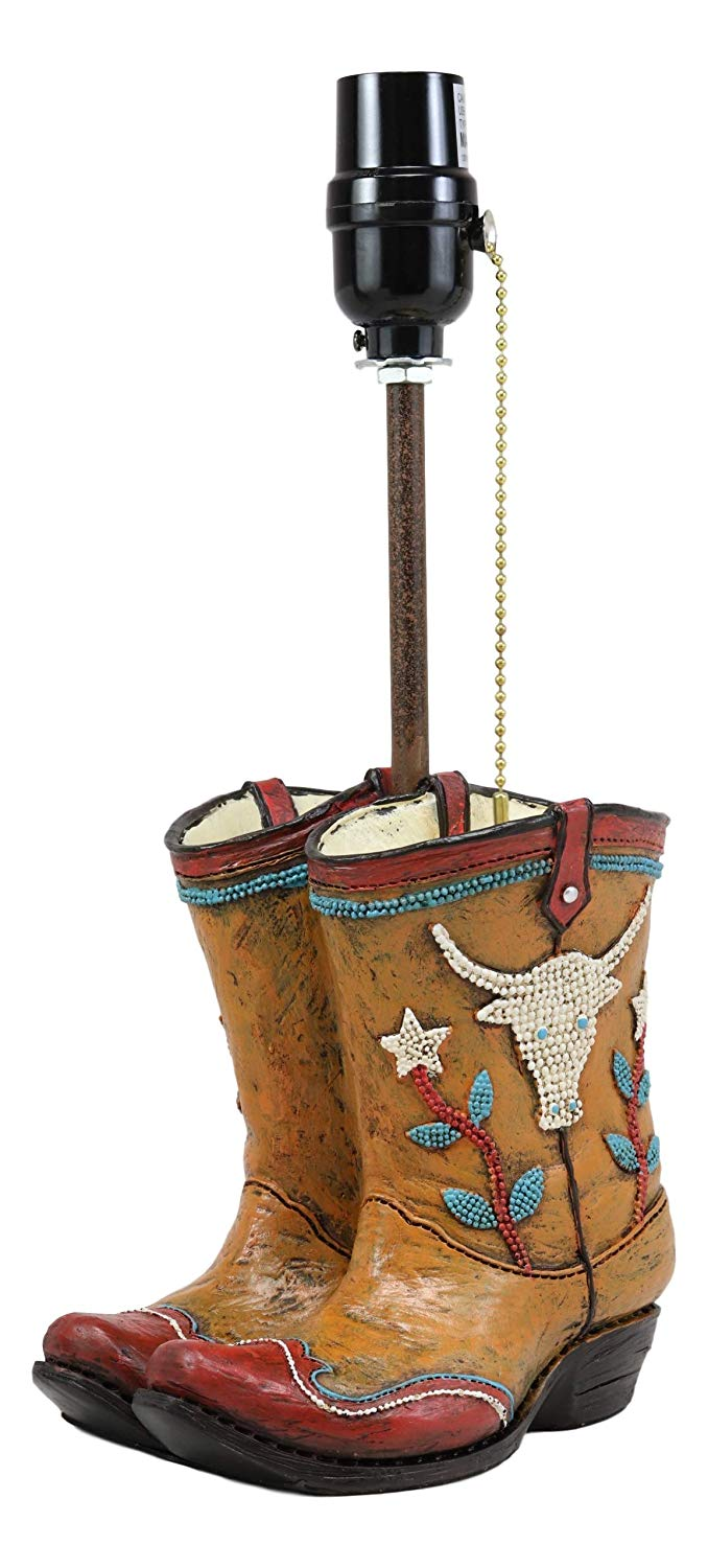 "Ebros Western Vintage Cowboy Cowgirl Pair of Boots with Bejeweled Steer Cow Design Desktop Side Table Lamp 18.5""Tall Rustic Country Southwestern Bedside Home Accent Lighting Decor"