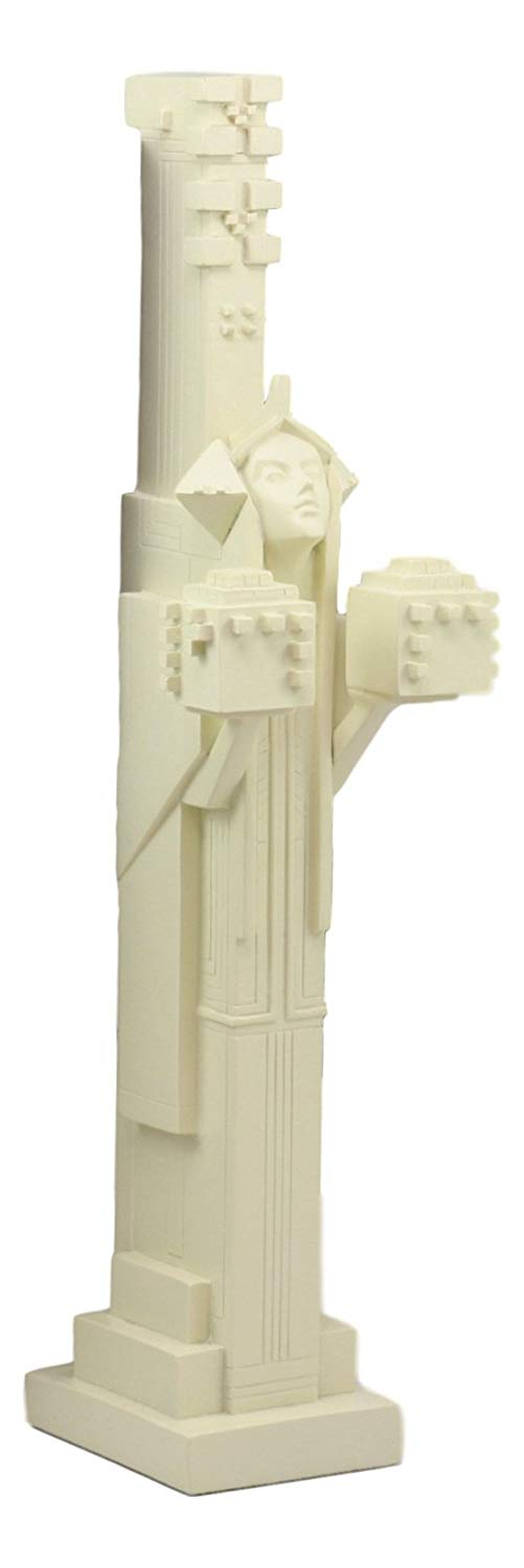"Ebros Frank Lloyd Wright Architecture Midway Gardens White Sprite Holding Two Cubes Statue Reproduction Sculpture 14"" Tall"