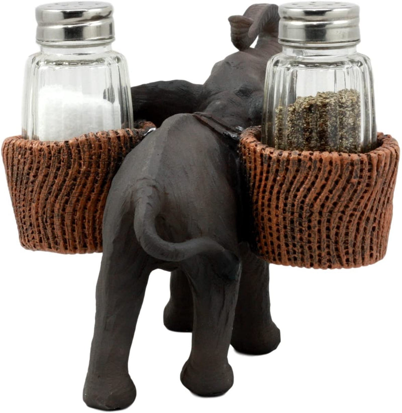 Ebros Savanna Calls Trumpeting Elephant Glass Salt And Pepper Shakers Holder Set