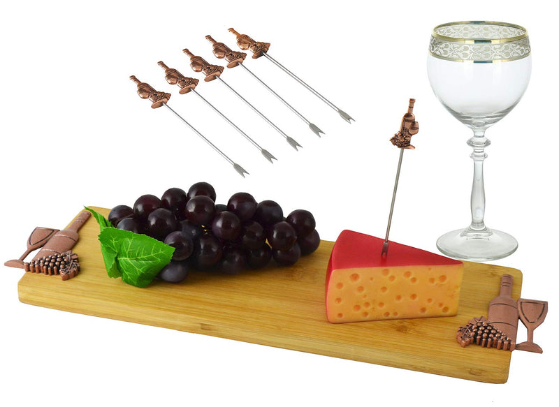 "Ebros Decorative Bamboo Wooden Cheese Board 16"" by 5"" with 6 Stainless Steel Cutlery Picks Gift Set Idea for Birthdays Wedding Registry Housewarming Women (Copper Wine and Grapes)"