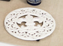 Rustic Off White Round Fleur De Lis Medallion In Scroll Design Cast Iron Trivet