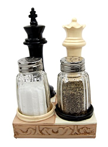 "Ebros Gift Checkmate Chess Genius King And Queen Salt Pepper Shakers Holder Figurine Set 5.75""H"